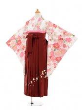 小学生卒業式袴女児9173 白地バラ×エンジ袴