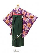 小学生卒業式袴女児9155 紫矢絣梅×グリーン袴