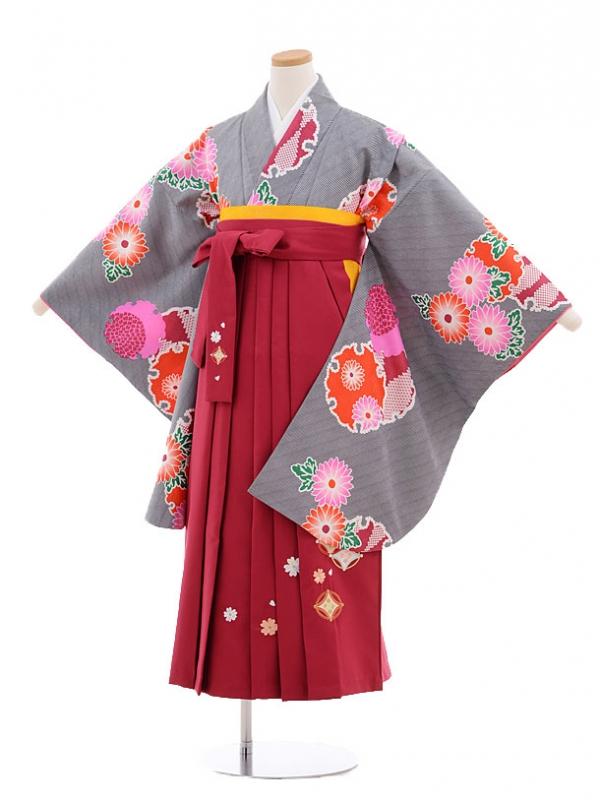 小学生卒業式袴レンタル(女の子)9560ひさかたろまん黒雪輪×ローズ袴