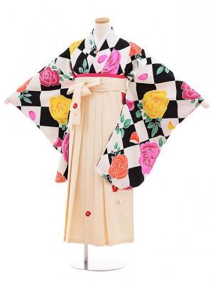 小学生卒業式袴レンタル(女の子)9547ひさかたろまん黒バラ×クリーム袴
