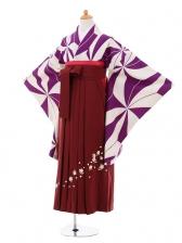 小学生卒業式袴女児9297 紫変わり麻の葉×エ