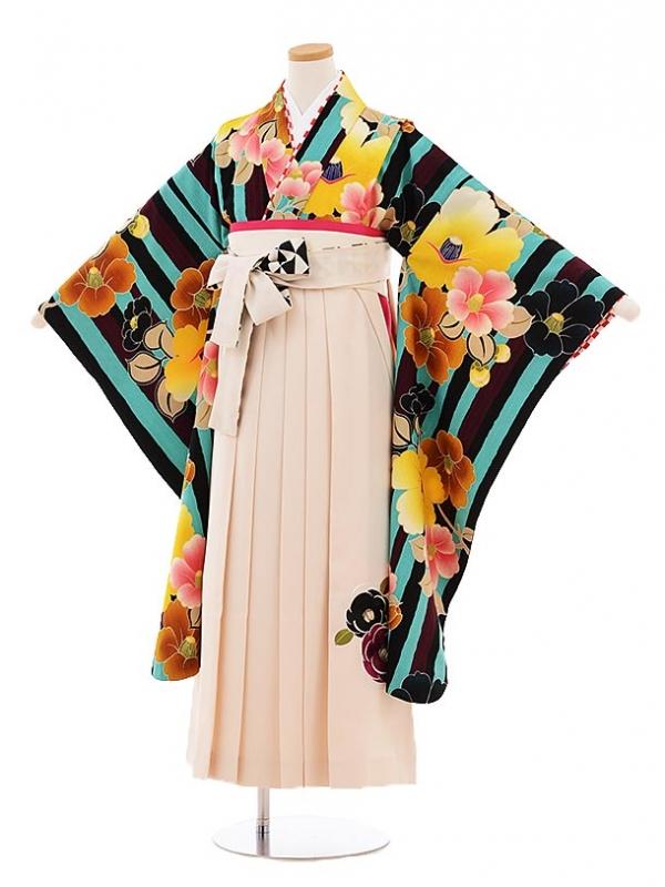 小学生卒業式袴レンタル9476紅一点ターコイズストライプ椿×クリーム色袴