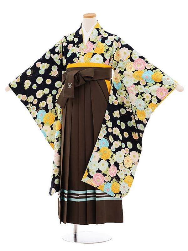 小学生卒業式袴9479ポンポネット(pomponette)黒地花×カーキ袴