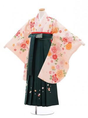 小学校卒業式袴レンタル(女の子)9885ライトピンク花×グリーン袴