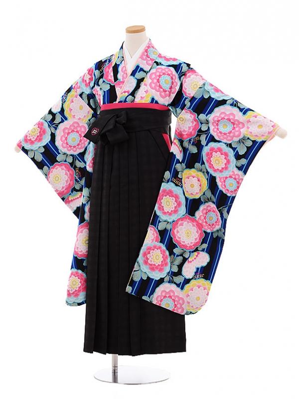 小学生卒業式袴レンタル9492JENNIlove黒地花×黒チェック袴