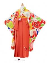 小学生卒業式袴女児9356 Lakokura赤梅×オレン