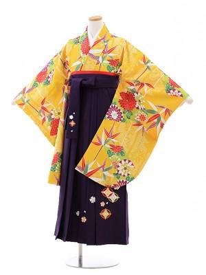 小学生卒業式袴レンタル(女の子)9789 黄色地古典×パープル袴