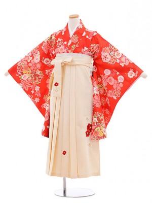 小学校卒業式袴レンタル(女の子)9878 赤地雲取り花×アイボリー袴