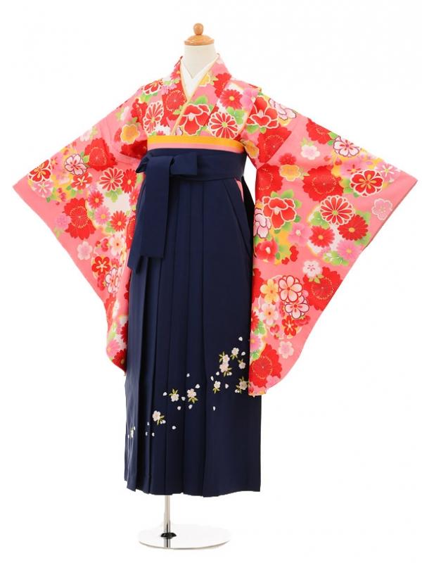 小学生卒業式袴レンタル(女の子)9163 ピンク雪輪に花×紺