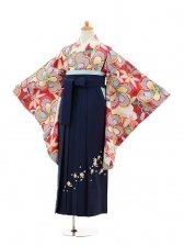 小学生卒業式袴女児9143 赤地捩り梅×紺袴