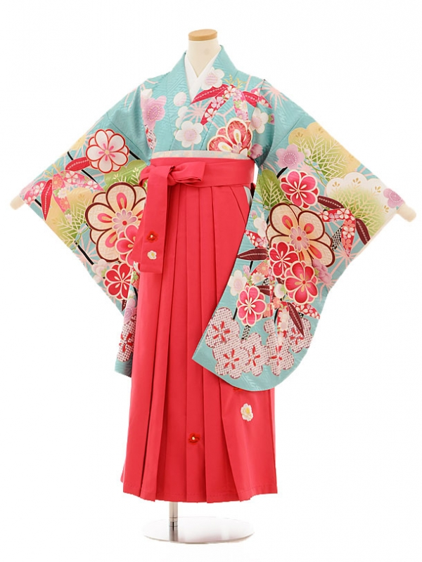 小学生卒業式袴レンタル(女の子)9508 水色松竹梅×ピンク袴