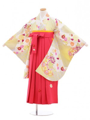 小学生卒業式袴レンタル(女の子)9567ひさかたライムグリーン×ピンク袴
