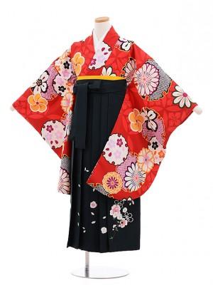 小学生 卒業式 袴レンタル(女の子)9609 赤地雪輪×深緑袴