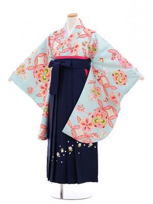 小学生 卒業式 袴レンタル(女の子)9625水色ねじり梅×紺袴
