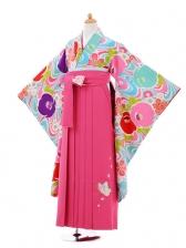 小学生卒業式袴女児9358 Lakokura水色椿×