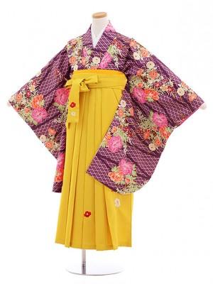 小学校卒業式袴レンタル(女の子)9846 紫花×イエロー袴
