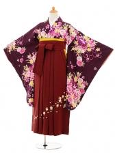 小学生卒業式袴女児9201 紫地花×エンジ袴