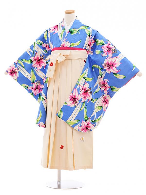小学生卒業式袴レンタル(女の子)9583ひさかたろまんブルーゆり×クリーム袴