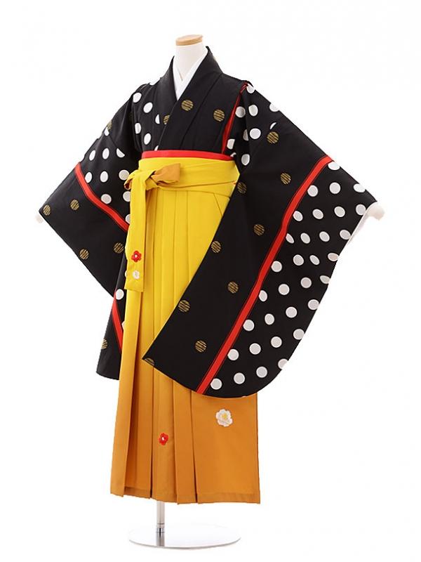 小学生卒業式袴レンタル(女の子)9757 黒地水玉×からし色袴