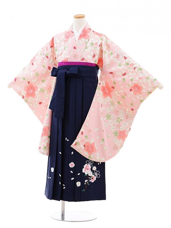 小学生卒業式袴レンタル(女の子)9724 ピンク地桜×紺袴