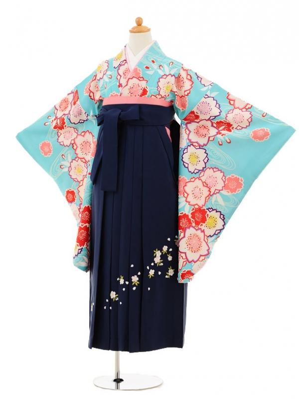 小学生卒業式袴女児9213 水色流水桜×紺袴