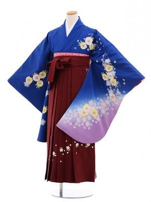 小学校卒業式袴レンタル(女の子)9656ブルー地裾紫桜×エンジ桜袴