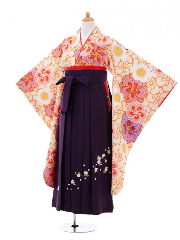 小学生卒業式袴レンタル(女の子)9351 クリーム梅×紫袴