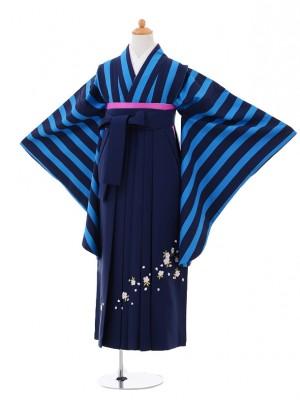 小学生卒業式袴レンタル(女の子)9325 ブルー紺縞×紺袴