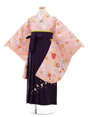小学校卒業式袴レンタル(女の子)9661ピンク扇に花×パープル袴