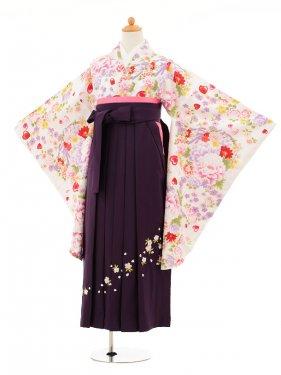 小学生卒業式袴女児9209 白地牡丹ハート赤×パ