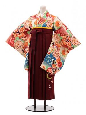 小学生 卒業式 袴 女児 9953 ひいな クリーム 赤 ぼかし 花×エンジ袴