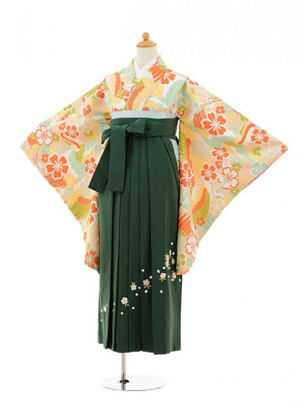 小学生卒業式袴女児9225 クリーム鶴桜×グリーン袴