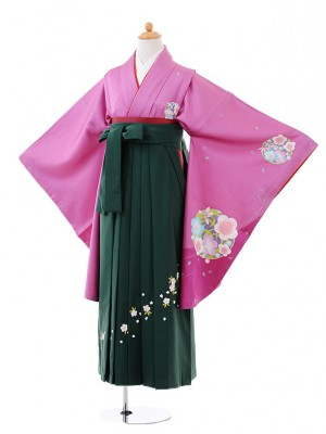 小学生卒業式袴レンタル(女の子)9379 紫地梅×グリーン袴