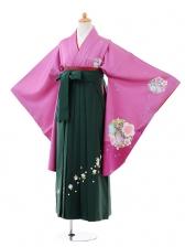 小学生卒業式袴女児9379 紫地梅×グリーン袴