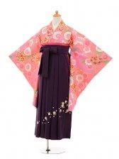 小学生卒業式袴女児9246 ピンク地まり×パープ
