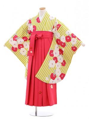 小学校卒業式袴レンタル(女の子)9875 黄緑ストライプ椿×ピンク袴