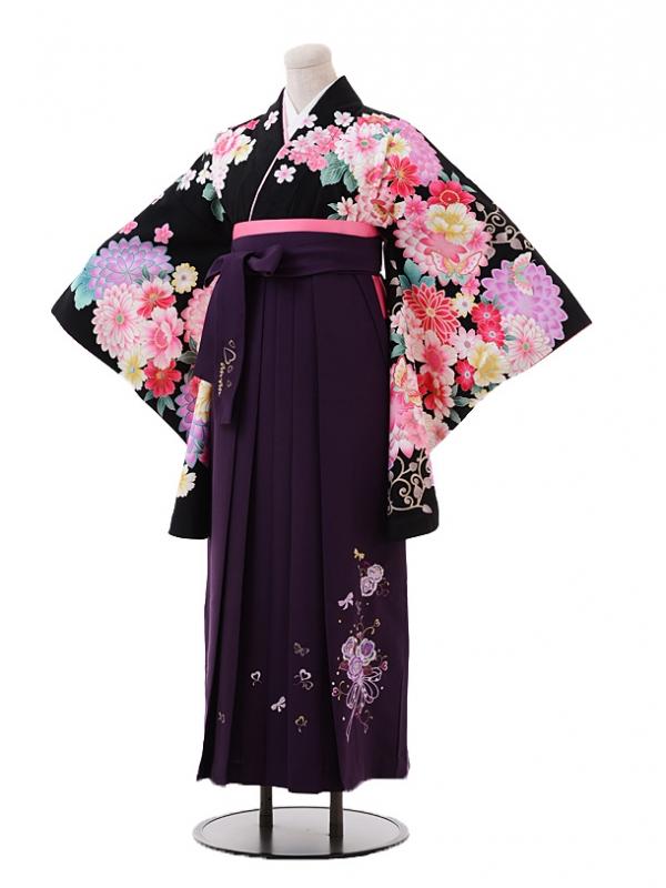 小学生卒業式袴レンタル(女の子)9390黒地花に蝶×パープル