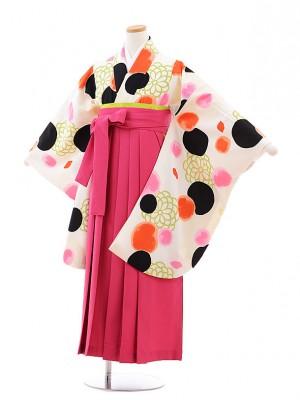 小学校卒業式袴レンタル(女の子)9781 クリーム地水玉×ピンク袴
