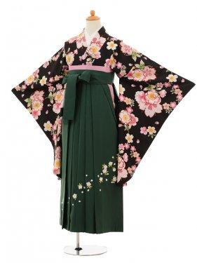 小学生卒業式袴女児9217 黒地桜×グリーン袴