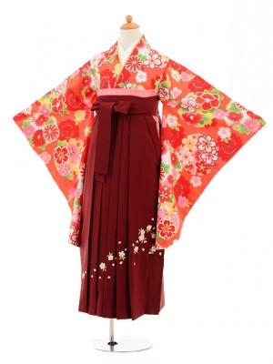 小学生卒業式袴レンタル(女の子)9166 オレンジ色雪輪×エンジ