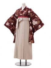 小学生卒業式袴女児9388茶色桜×ベージュ袴
