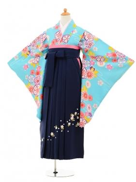 小学生卒業式袴女児9188 水色流水花×紺袴