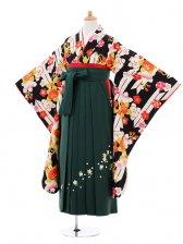 小学生卒業式袴女児9350 黒矢絣橘×グリーン袴