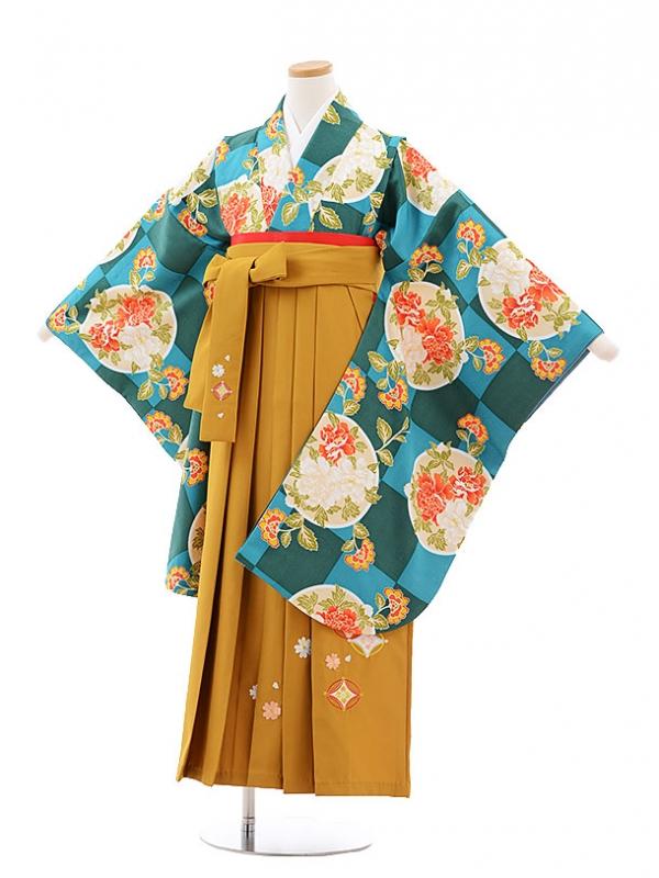 小学生卒業式袴レンタル(女の子)9760 グリーン市松丸に花×金茶袴