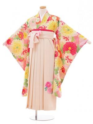 小学生卒業式袴レンタル9495SISTERJENNIピンク花×クリーム色袴