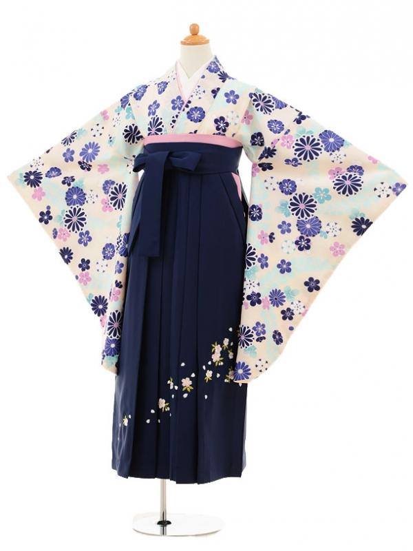 小学生卒業式袴レンタル(女の子)9187 白地菊藤×紺袴