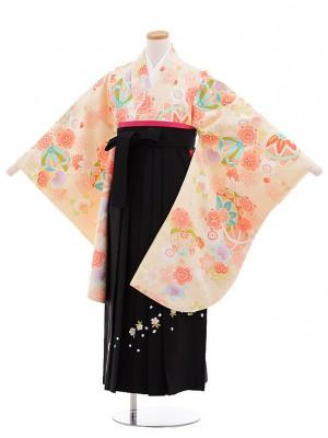 小学生卒業式袴レンタル(女の子)9665クリーム地まり花×黒袴