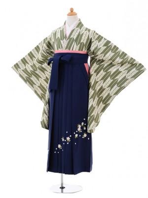 小学生卒業式袴レンタル(女の子)9321 グリーン矢絣桜×紺袴
