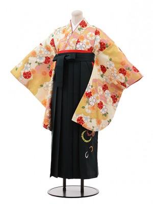 小学生 卒業式 袴 女児 9959 ひいな クリーム地 桜×グリーン袴