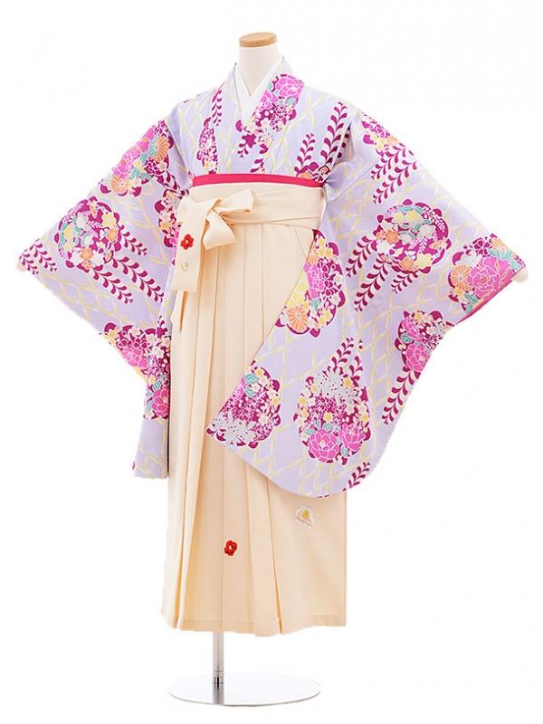 小学生卒業式袴レンタル(女の子)9581ひさかたろまんすみれ色×クリーム袴